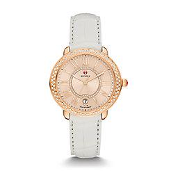 Serein 16 Diamond Rose Gold, Beige Diamond Dial White Alligator Watch