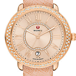 Serein 16 Diamond Rose Gold, Beige Diamond Dial Peach Saffiano Watch