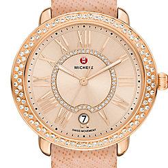 Serein 16 Diamond Rose Gold, Beige Diamond Dial Peach Saffiano Watch
