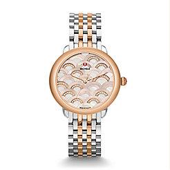 Serein 16 Mosaic Two-Tone Rose Gold, Beige Diamond Dial Watch