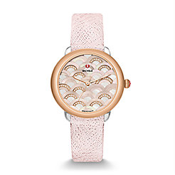 Serein 16 Mosaic Two-Tone Rose Gold, Beige Diamond Dial Pale Mauve Leather Watch