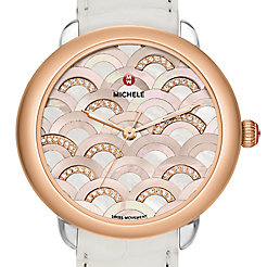 Serein 16 Mosaic Two-Tone Rose Gold, Beige Diamond Dial White Alligator Watch