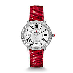 Serein 16 Diamond, Diamond Dial Wine Lizard Watch