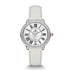Serein Mid Diamond, Diamond Dial White Alligator Watch