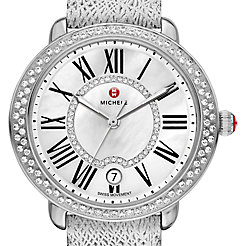 Serein Mid Diamond, Diamond Dial Silver Leather Watch