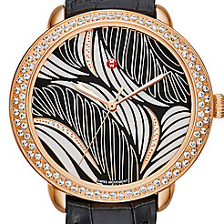 Serein Mid Diamond Rose Gold, Willow Diamond Dial Black Alligator Watch
