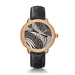 Serein Mid Diamond Rose Gold, Willow Diamond Dial Black Leather Watch