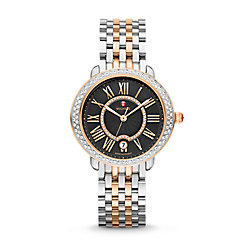 Serein Mid Diamond Two-Tone Rose Gold, Black Diamond Dial Watch