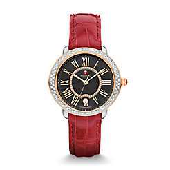 Serein 16 Diamond Two-Tone Rose Gold, Black Diamond Dial Garnet Alligator Watch
