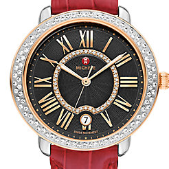 Serein Mid Diamond Two-Tone Rose Gold, Black Diamond Dial Garnet Alligator Watch