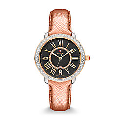 Serein Mid Diamond Two-Tone Rose Gold, Black Diamond Dial Rose Saffiano Watch