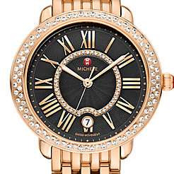 Serein Mid Diamond Rose Gold, Black Diamond Dial Watch