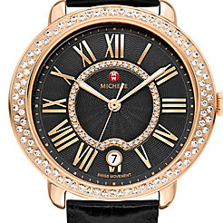 Serein Mid Diamond Rose Gold, Black Diamond Dial Black Alligator Watch
