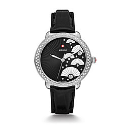 Serein 16 Diamond, Fan Diamond Dial Black Alligator Watch