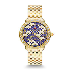 Serein 16 Diamond Gold, Blue Fan Diamond Dial Watch