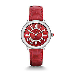 Serein 16, Red Diamond Dial Garnet Alligator Watch