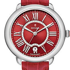 Serein Mid, Red Diamond Dial Garnet Alligator Watch