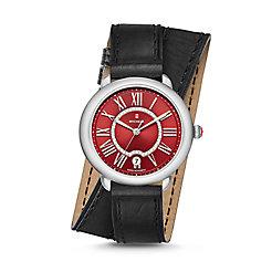 Serein Mid, Red Diamond Dial Black Double Wrap Watch