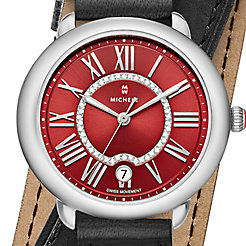 Serein 16, Red Diamond Dial Black Double Wrap Watch