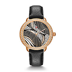 Serein 16 Diamond Rose Gold, Willow Diamond Dial Black Saffiano Watch