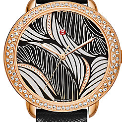Serein Mid Diamond Rose Gold, Willow Diamond Dial Black Saffiano Watch
