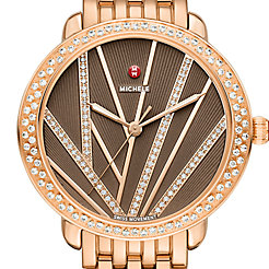 Serein Mid City Lights Diamond Rose Gold, Diamond Dial Watch