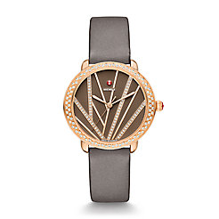 Serein Mid City Lights Diamond Rose Gold, Diamond Dial Gray Satin Watch