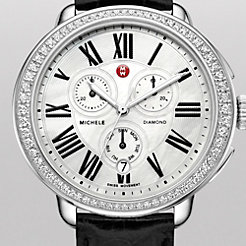 Serein Glamour Diamond Black Alligator Watch