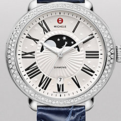 Serein Diamond Moon Phase, Navy Alligator Watch