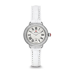 Serein 12 Diamond Silver Alligator Watch