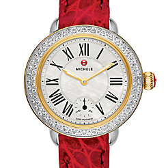 Serein 12 Diamond Two Tone Garnet Alligator Watch