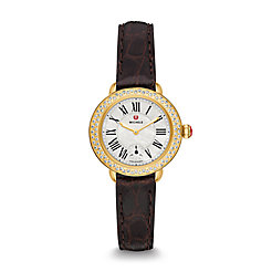 Serein 12 Diamond Gold Espresso Alligator Watch