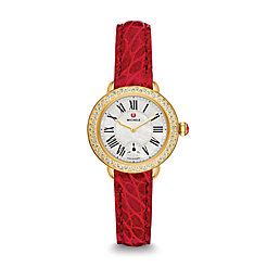 Serein 12 Diamond Gold Garnet Alligator Watch
