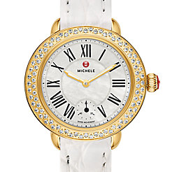 Serein 12 Diamond Gold White Alligator  Watch
