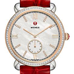 Gracile Two-Tone Rose Gold Diamond, Diamond Dial Thin Garnet Alligator Watch
