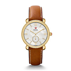 Gracile Diamond Gold, Diamond Dial Saddle Leather Watch