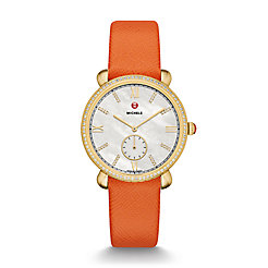 Gracile Diamond Gold, Diamond Dial Orange Saffiano Watch