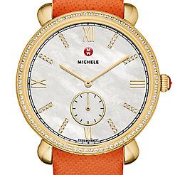 Gracile Diamond Gold, Diamond Dial Orange Saffiano Watch
