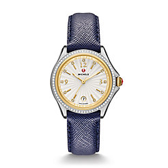 Belmore Diamond, Two-Tone Diamond Dial Navy Leather Watch