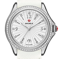 Belmore Diamond, Diamond Dial White Leather Watch