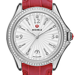 Belmore Diamond, Diamond Dial Garnet Alligator Watch