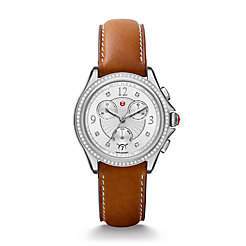 Belmore Chrono Diamond, Diamond Dial Saddle Calfskin Watch