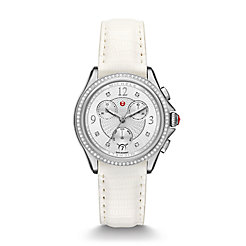 Belmore Chrono Diamond, Diamond Dial White Lizard Watch