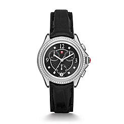 Belmore Chrono Diamond, Black Diamond Dial Black Alligator Watch