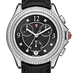 Belmore Chrono Diamond, Black Diamond Dial Black Alligator Watch
