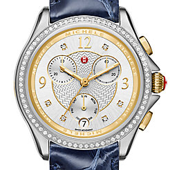 Belmore Chrono Diamond Two-Tone, Diamond Dial Navy Alligator Watch