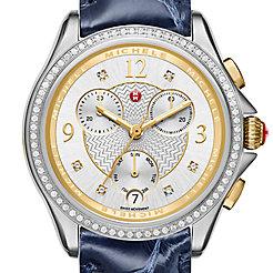 Belmore Chrono Diamond Two-Tone, Diamond Dial Navy Alligator Watch