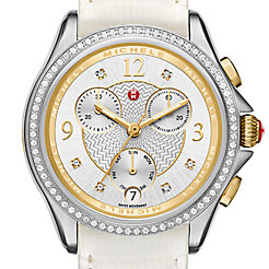 Belmore Chrono Diamond Two-Tone, Diamond Dial White Lizard Watch