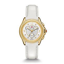 Belmore Chrono Diamond Gold, Diamond Dial White Alligator Watch