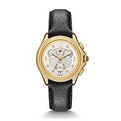 Belmore Chrono Diamond Gold, Diamond Dial Black Leather Watch